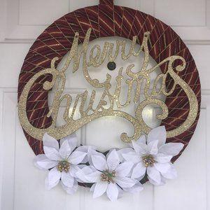 Burgundy & Gold Merry Christmas Wreath New